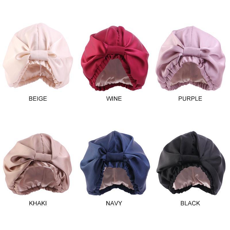여성 더블 레이어 새틴 날 밤 수면 캡 단색 Headwrap 여자들은 머리 커버 메이크업 모자 모자 패션에 대한 실키 보닛