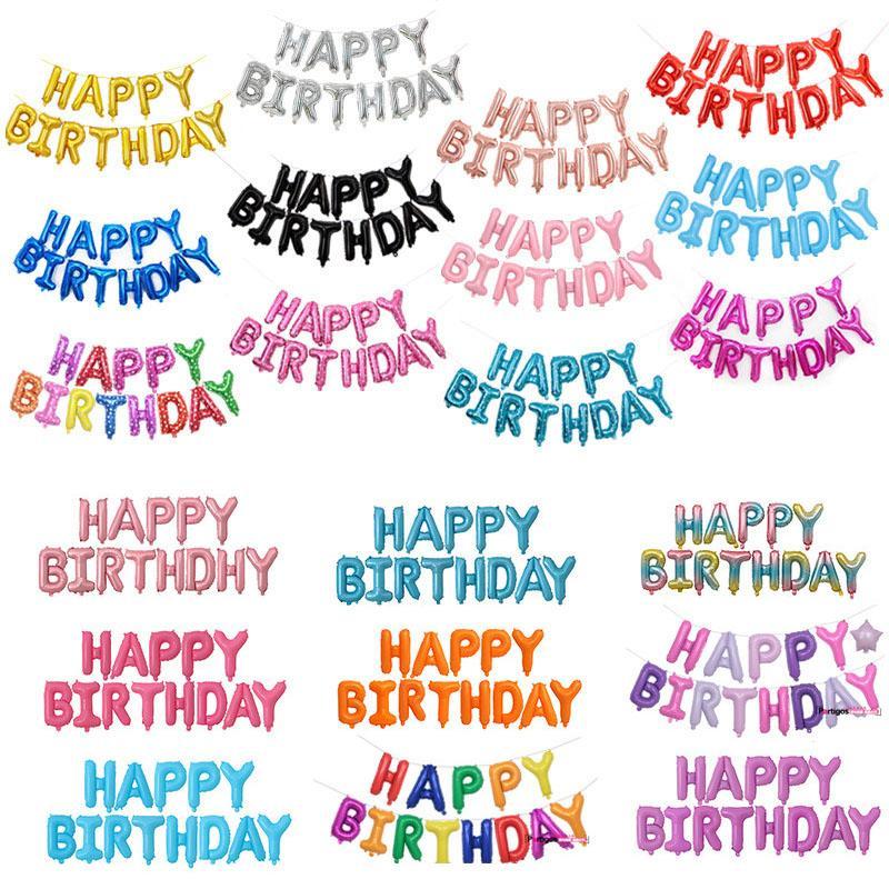 도매 16 인치 편지 풍선 문자 세트 생일 축하 알루미늄 호 일 풍선 생일 파티 장식