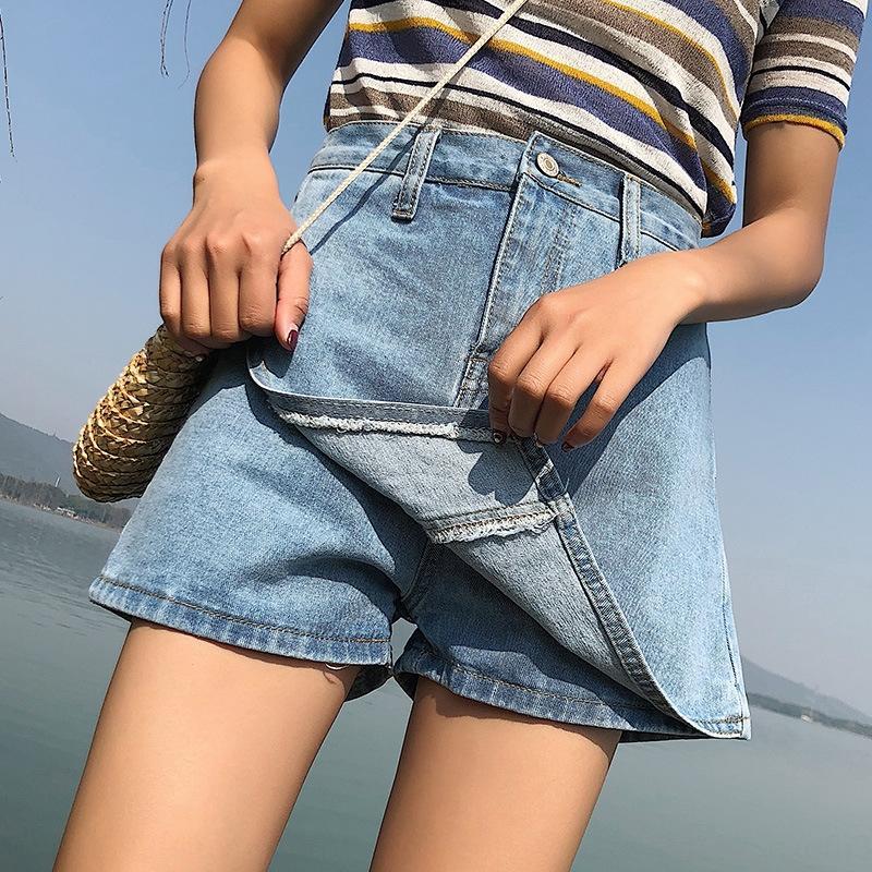 OgHBi cintura alta pantalones cortos de mezclilla y pantalones cortos de los pantalones cortos de verano falso de dos piezas de las mujeres del estilo de Hong Kong elegante línea A- protección contra la intemperie falda sk