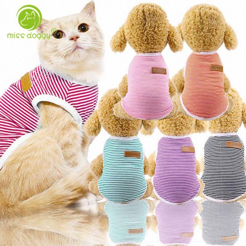 XS-XXL собак Pet Vest Stripe свитер рубашку весной и летом собак Рубашка Pet Одежда для собак Кошки щенок Одежда оптом 10E DyJK #