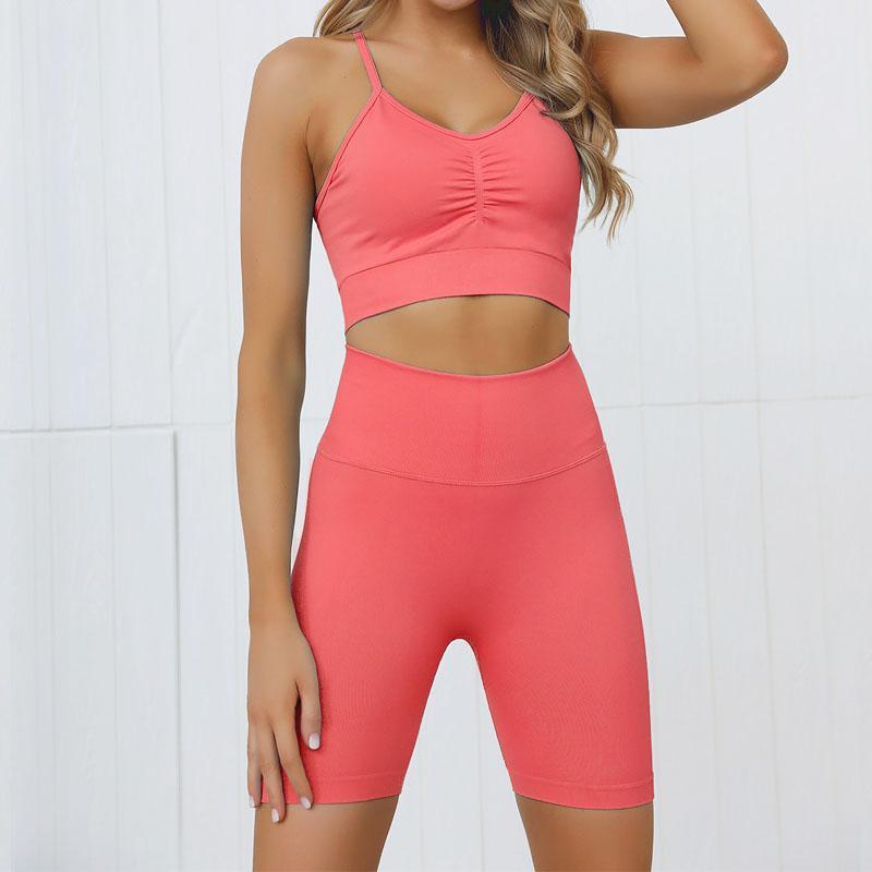 Женщины Йога наборы 2 шт Наборы Seamelss Спорт Установить тренировки Одежда для женщин Одежда Gym Workout Установить бюстгальтер Push Up Брюки