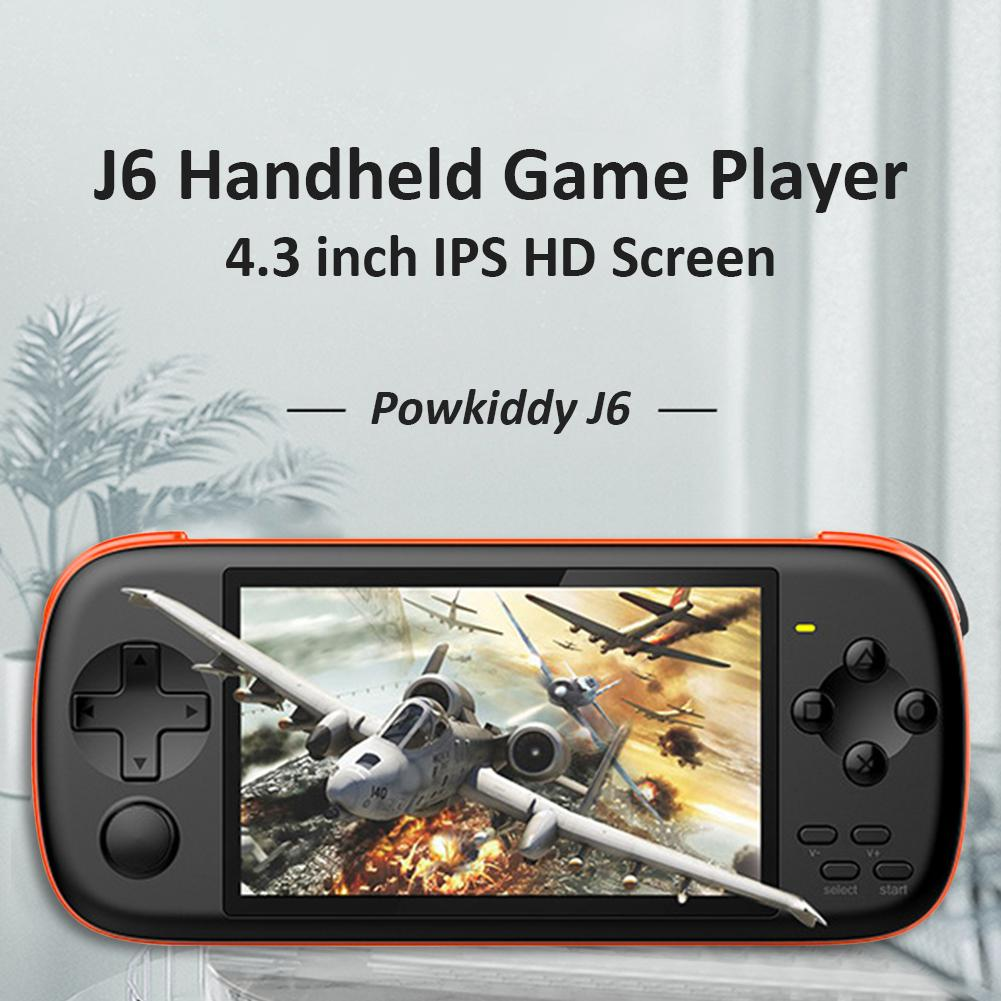 Powkiddy J6 портативная игровая консоль игры 4.3 дюйма IPS экран ретро игрока игрок HD 128-битный симулятор аркада для NES PSP GBA SFC PLAY