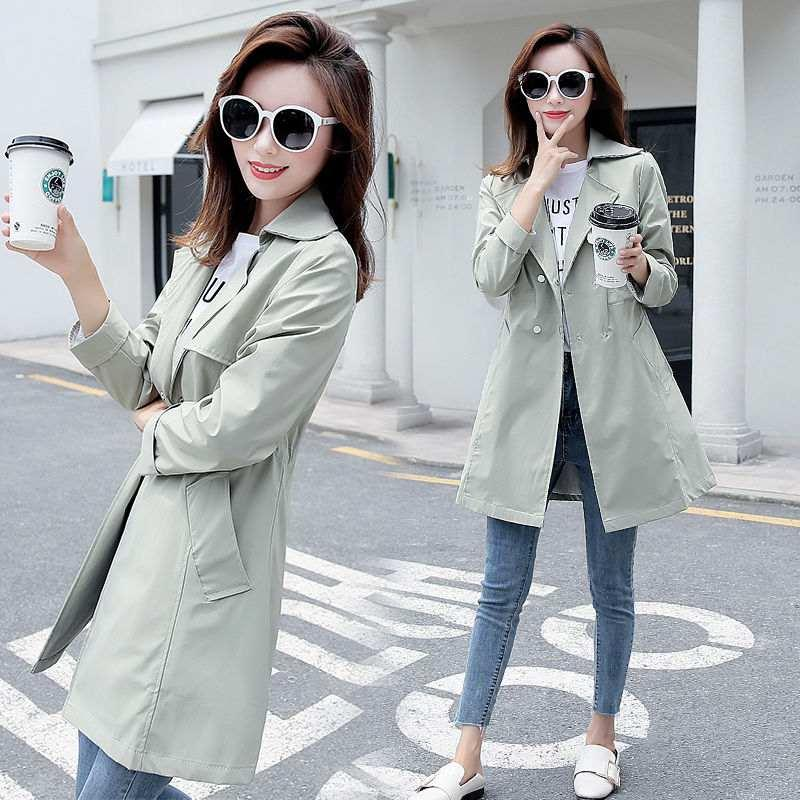Mujer 2020 Retro New Autumn Windbreaker Korean Slim Casual Outwear Women's Mid-length Thin Double-breasted Trench Coat Sale Z298