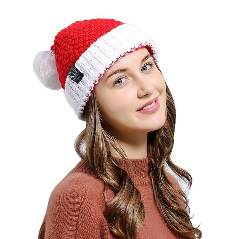 Père Noël Chapeau acrylique Tricoté Patchwork Winter Party Décor Cap Déguisements Chapeaux Costume