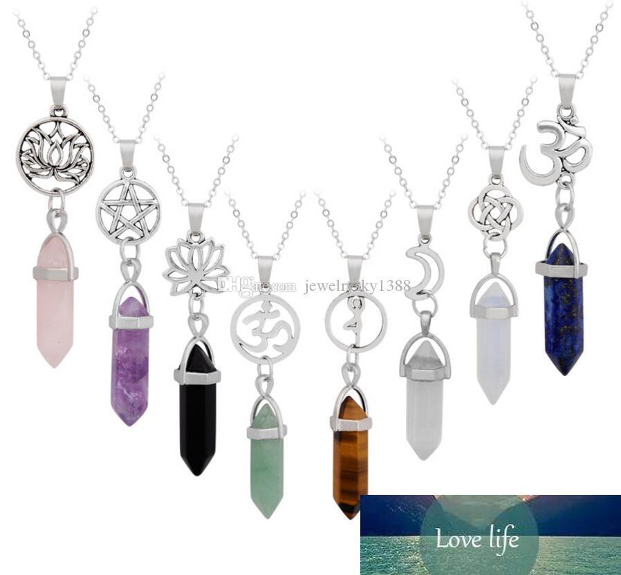 128 estilo de la estrella / Lotus collar de cristal natural de Yoga Prisma hexagonal collares de piedras preciosas de la roca de cuarzo curación Punto Péndulo Chakra largo de las mujeres