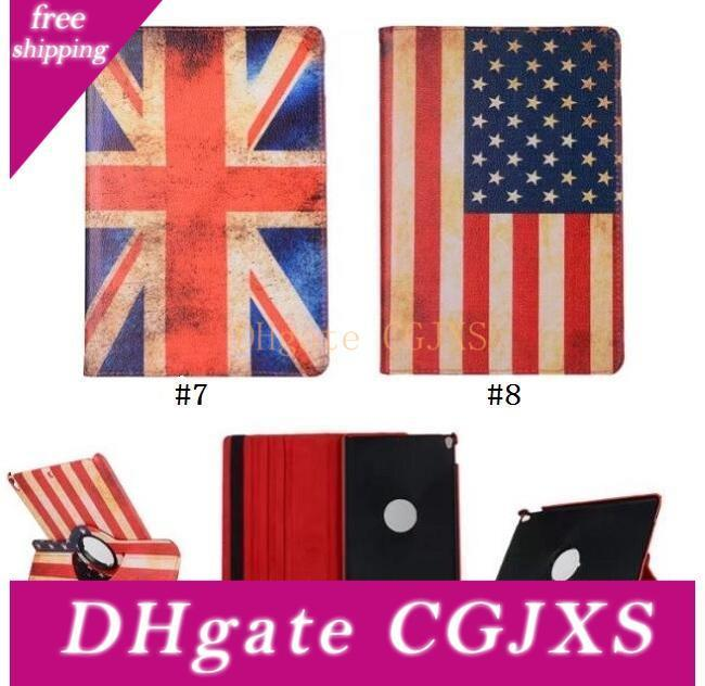 360 Degree Rotary Rotating Stand Usa Uk National Flag Diamond Flower Flip Pu Leather Case For Ipad 234 5 6 Mini 123 4 New 9 .7 2017