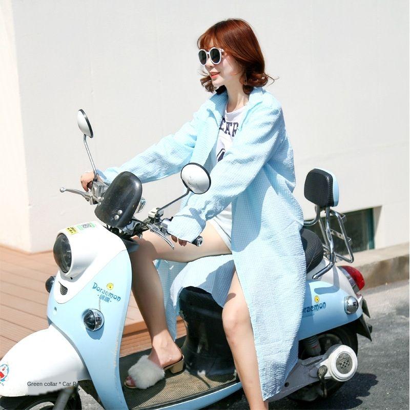 LU1P6 todo-match elétrica de comprimento médio motocicleta verão das mulheres da motocicleta roupas roupas de bicicleta protetor solar ao ar livre ciclismo bateria sóis LwpC0