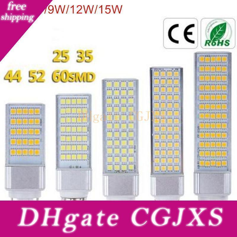 G24 levou bulbos 5W 7W 9W 12w 15w E27 Led milho lâmpada de luz SMD 5050 Spotlight 180 graus AC85 -265v Horizontal Ligue Luz