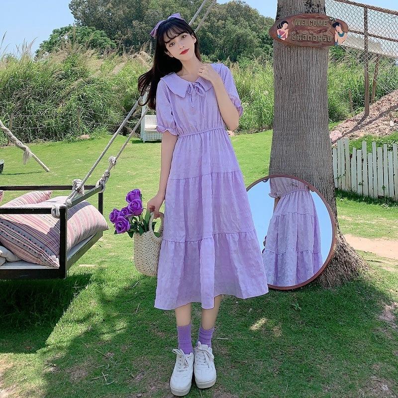 hhbWF Estate 2020 nuova bambola collare della bambola abito di pizzo-up pieghettato viola di lunghezza media dimagrante vita elegante abito a manica corta per le donne