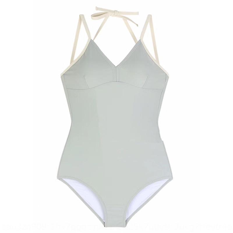 2020 nueva de una sola pieza traje de baño bikini para las mujeres estilo sencillo bikini estilo ins traje de baño de aguas termales de Corea para las mujeres