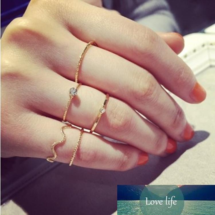 5PCS / SET Простой ювелирные изделия волна пять частей нить с кристалла алмаза кольцо палец кольцо пальца шарнирной кольцо
