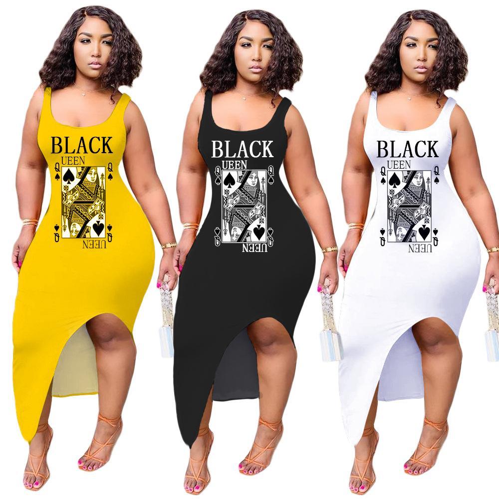 Collo donne Dress Scoop scheda di gioco senza maniche Split Slim Fit abiti da donna Vestiti sexy