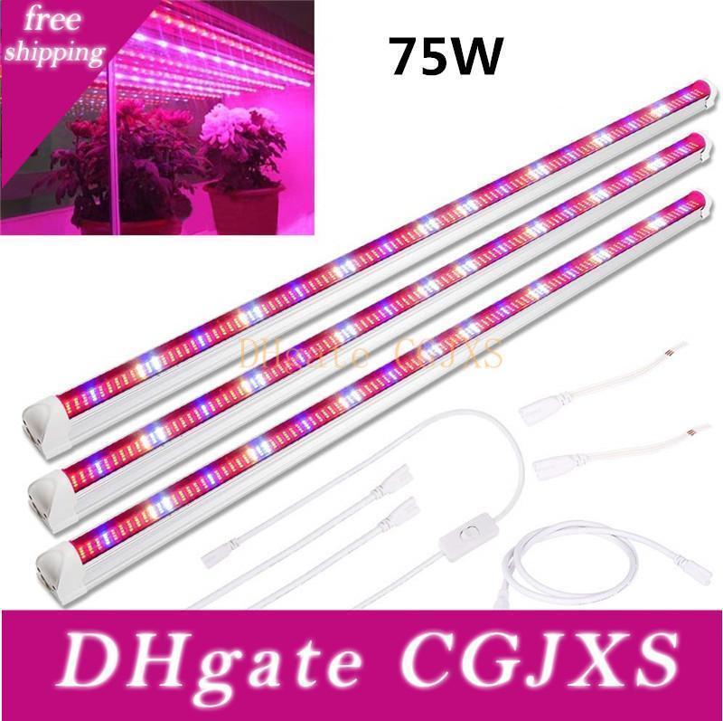 45w 60w 75w T8 planta crece tubo de luz 3 LED Paquete de 3 pies espectro completo 448pcs Grow Grow Light Bar de Gaza para plantas de interior