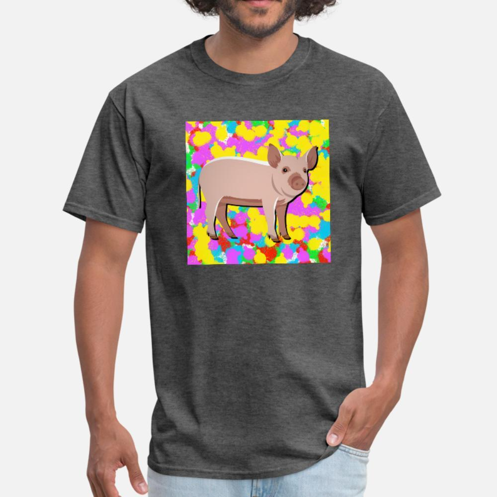 Background Pig Pop Cor Tie Dye Funky do Indie da camisa homens fresco t caráter camiseta O-Neck dom carta camisa slim Verão Casual