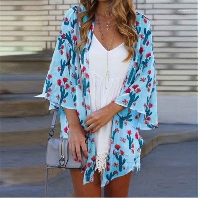 Сплошной цвет Пляж Блуза Повседневный Солнцезащитный Женская одежда Плюс Размер S-5XL Летний женский дизайнер рубашка Cactus Printed
