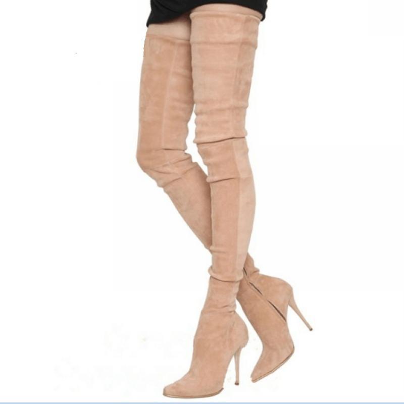 Marke Stretch Wildleder Oberschenkel hohe Heels Stiefel Frauen Winterstiefel Stiletto Heels Sexy Overknee-Damen Schuhe Tropfen-Schiff