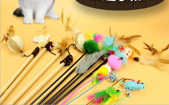 brinquedos gato de estimação provocar gatos, ratos, sinos, bolas, varas gato, sinos elásticas, penas, coelhos, pólos carpintaria WL021