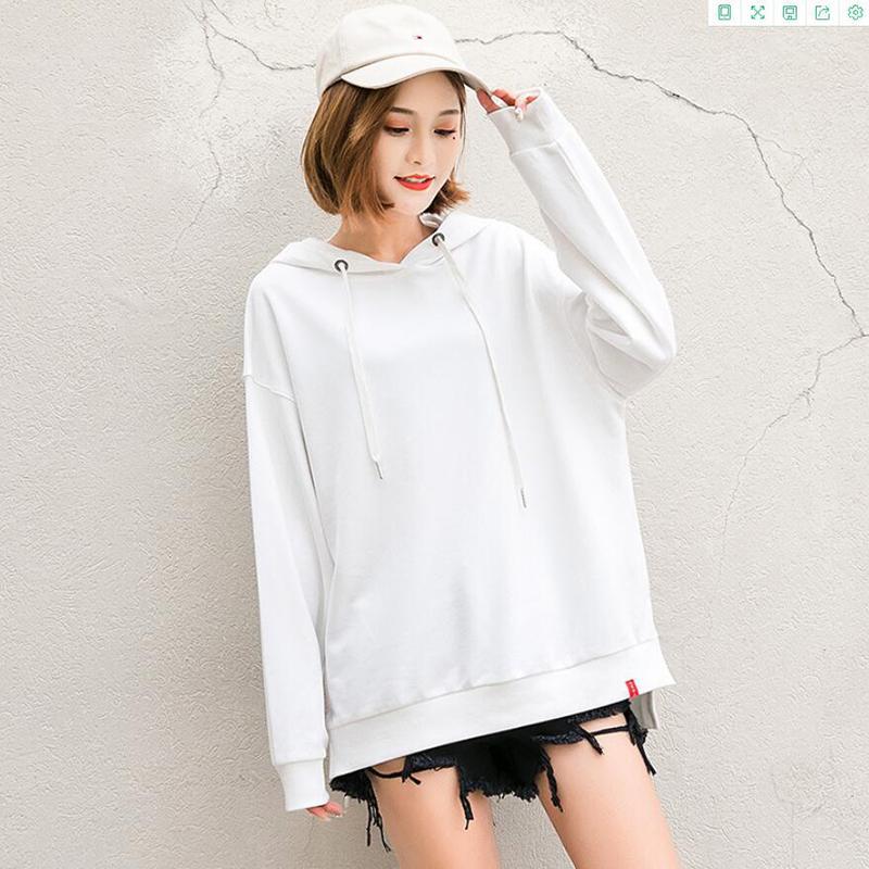plain white hoodies oversize hoodie womens simple blank solid color loose ladies hood sweatshirts fall clothing cotton hoody Y200812