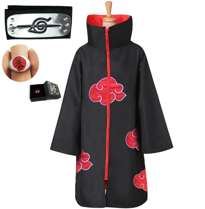 Аниме Наруто плащ костюм Akatsuki Uchiha Itachi Nelace оголовье кольцо плащ Взрослый ребенок Косплей Хэллоуин набор одежды