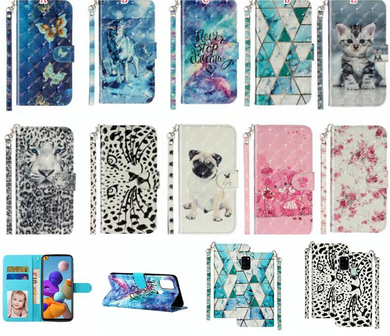 3D Cartoon Leather Case For Samsung A21S NOTE 20 Ultra A41 A31 A01 A10S A30 A20E A20S A40 A50 A60 Wallet Strap Flower Stand Cell Phone Cover