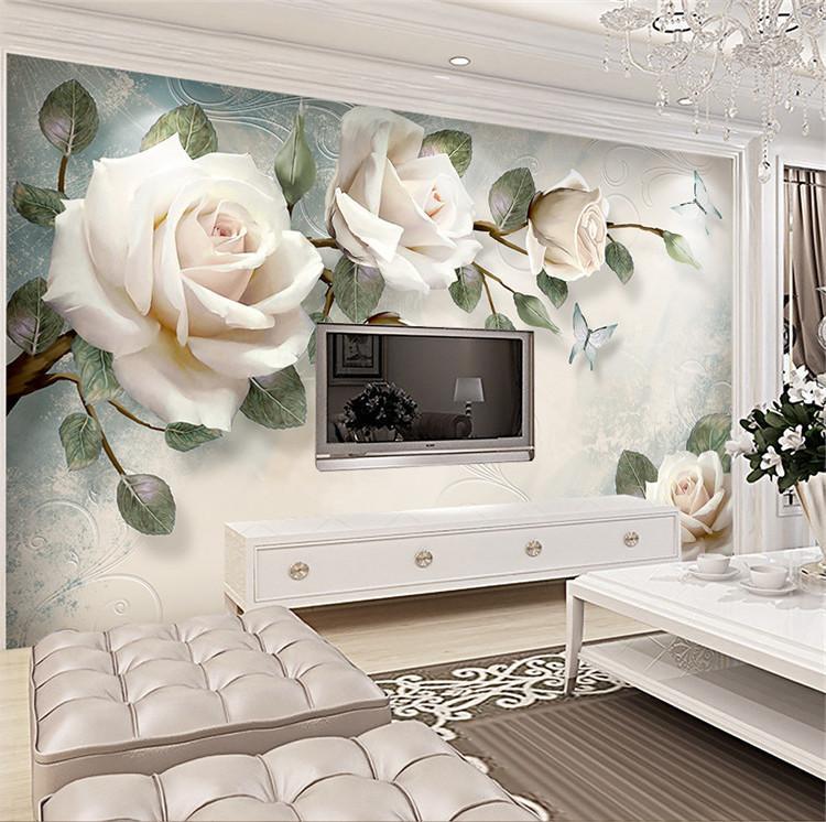 Fond d'écran européen White Rose Fleur murale photo Fonds d'écran Living Wall Paper 3D Salle Pintado Pared Rollos papel papel de parede