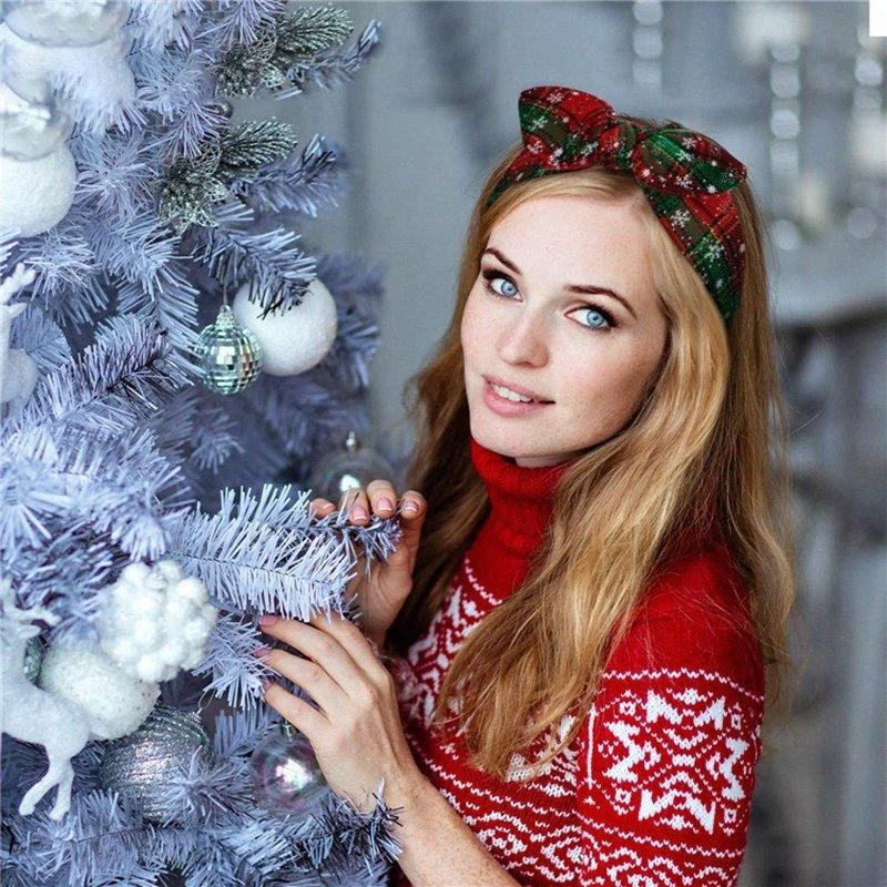 Femmes Filles Bandeau Noël Plaid Snowflower élastique Bow Hairband Oreilles de lapin Heaband Noël Accessoires cheveux HHAA996 L17k #