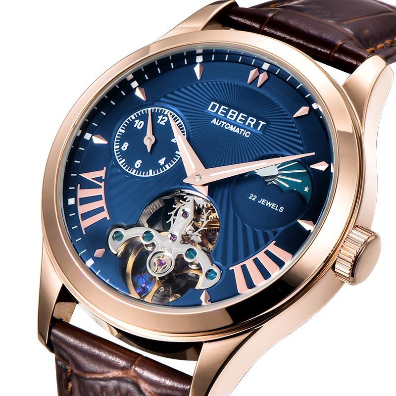 Tourbillon ay fazı otomatik mekanik erkek 41mm üst erkek kol saati klasik çelik kasa deri saatini saatler