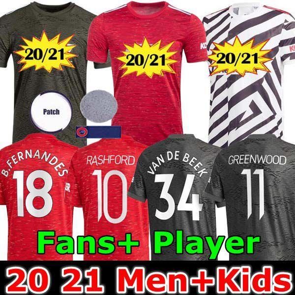 Spieler 20 21 FC Manchester Van De Beek nach Hause Mann Fußball Trikots B.FERNANDES Rashford KAMPF vereinigt 2020 Fußballhemden 2021 Kinder Uniformen