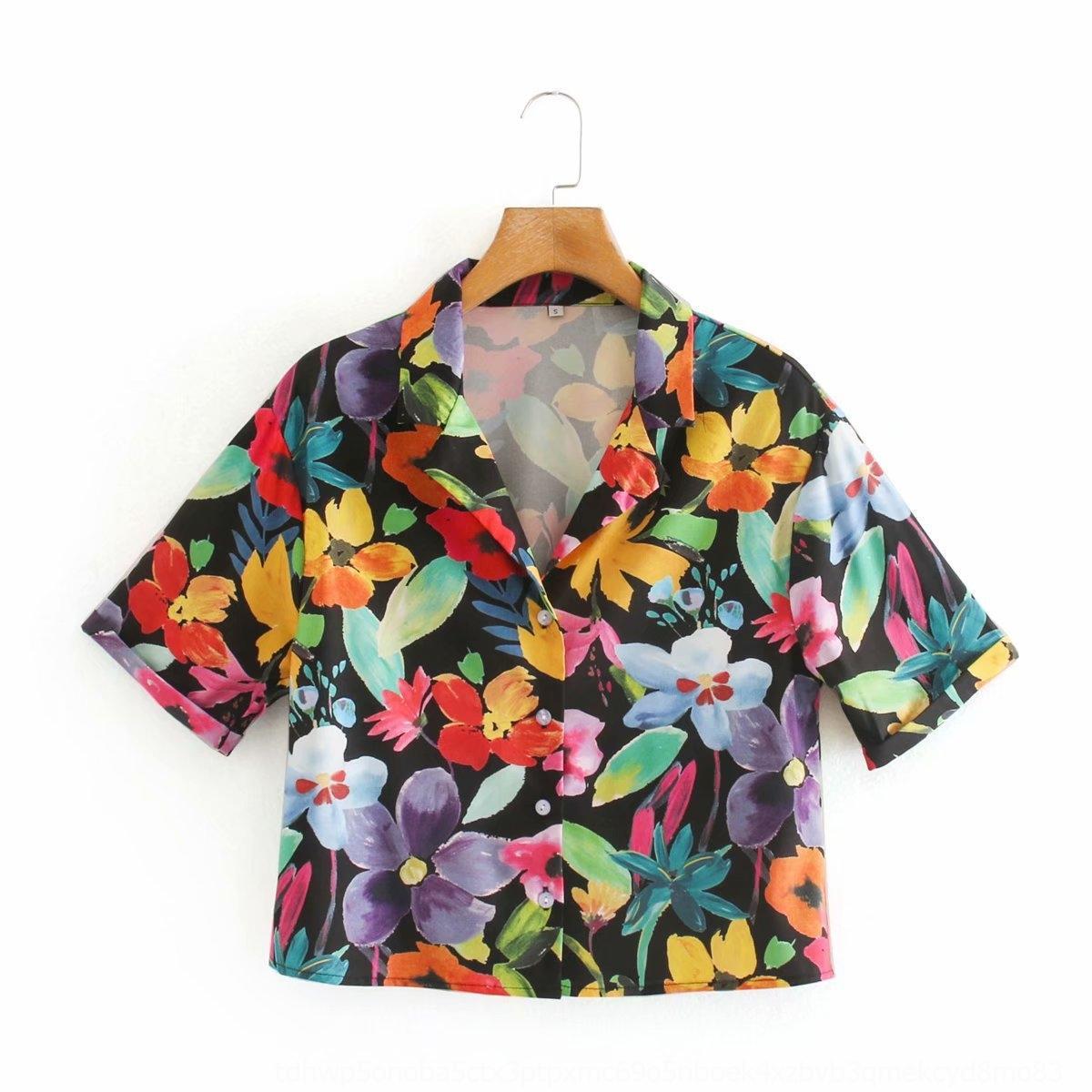 38vzV HGf3x 2020 estate di stampa delle donne multicolore floreali U7-33300 2020 Estate stampa multicolor camicia floreale camicia U7-33300 donne