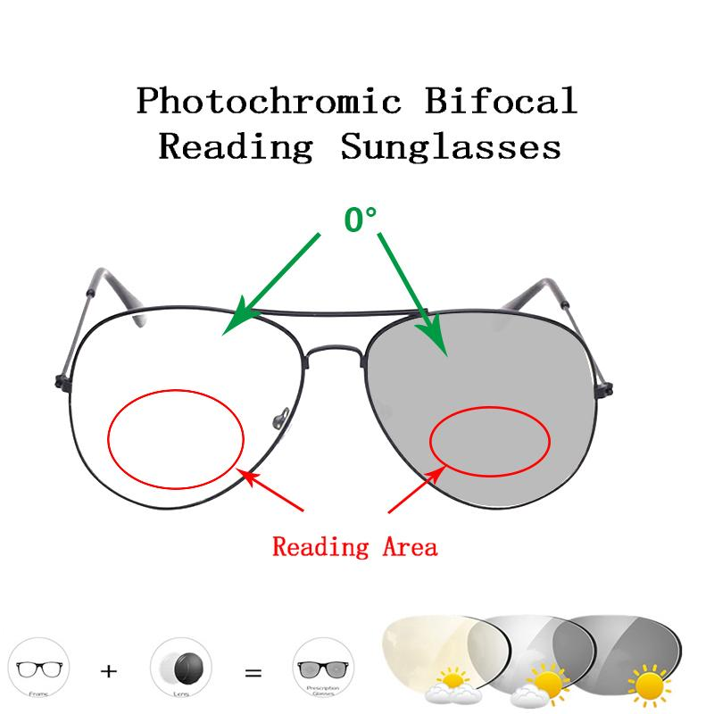 Occhiali da sole Intelligente Pochromic Bifocal Lettura Occhiali da lettura rotondi Donne Uomo Classsic Pilot Presbyopic EyeGlasses L2