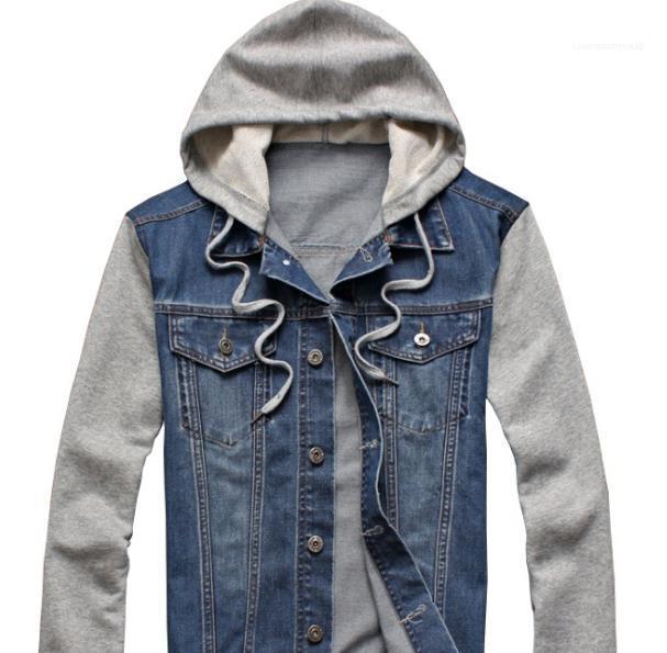 Bekleidung Herren Frühling Designer-Jacke mit Kapuze Langarm-Patchwork Farbe Abnehmbare Mäntel Mode Einreiher Männlich