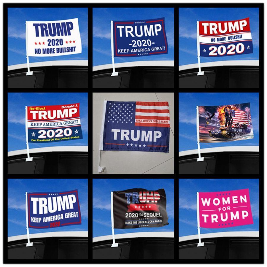 Moda Trump Car Bandiera 45 * 30cm 2020 US Presidential Election Finestra Trump Flag Car Bandiera compreso Flagpole DDA475