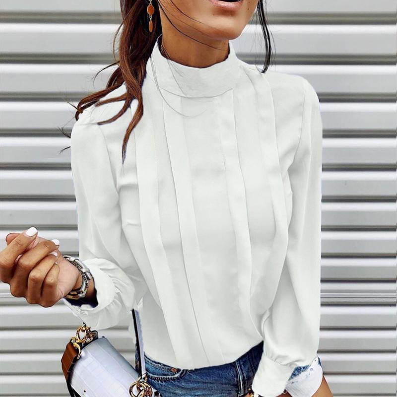 Шик High Street Женщины блузка рубашки Новая мода дамы Офис Работа Vogue Рубашка Tops Daily Гофрированный Elagant Блуза 2020 ГОРЯЧУЮ