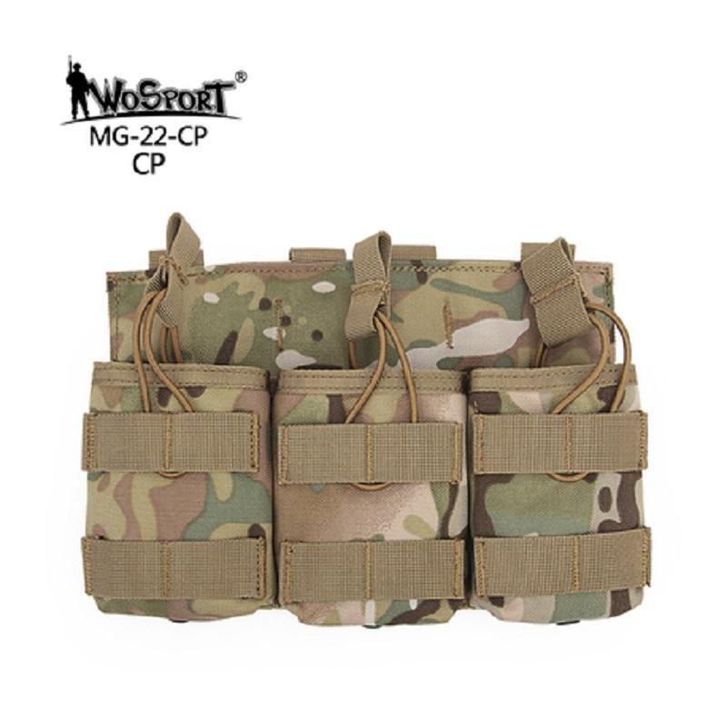 Por 7,62 sola bolsa de triple doble clip de camuflaje táctico Revista de la bolsa MOLLE chaleco de la correa de la caza de Bolsas