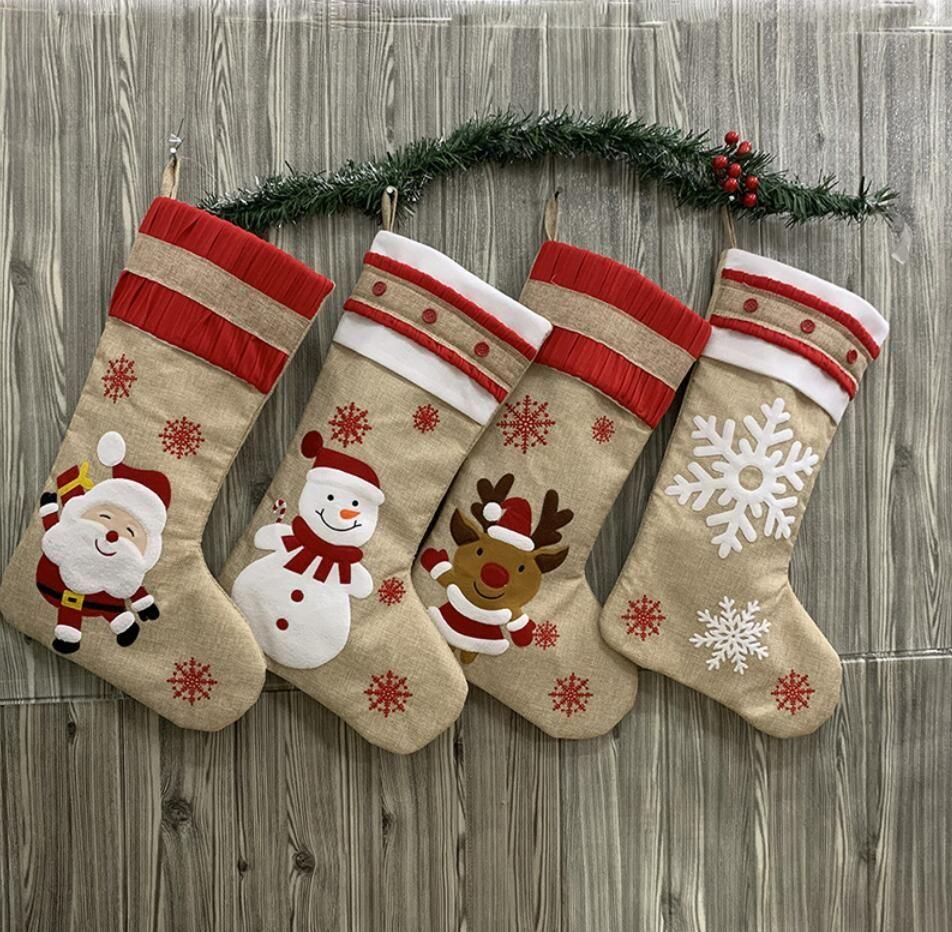 Düz Çuval bezi dekoratif çorap torbası geyik Noel Xmas çorap Büyük Beden Noel kar tanesi tuval Tuval Noel çorap hediye çanta