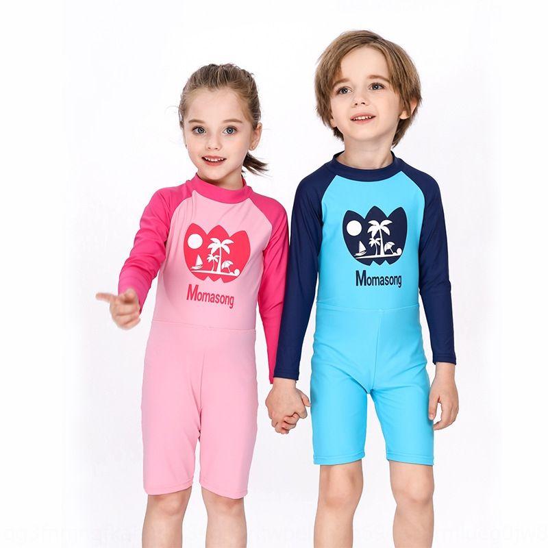 meninos das crianças e meninas médio sol à prova de uma peça de manga comprida de coco bonito traje de banho e roupa de banho para crianças grandes NPfT6