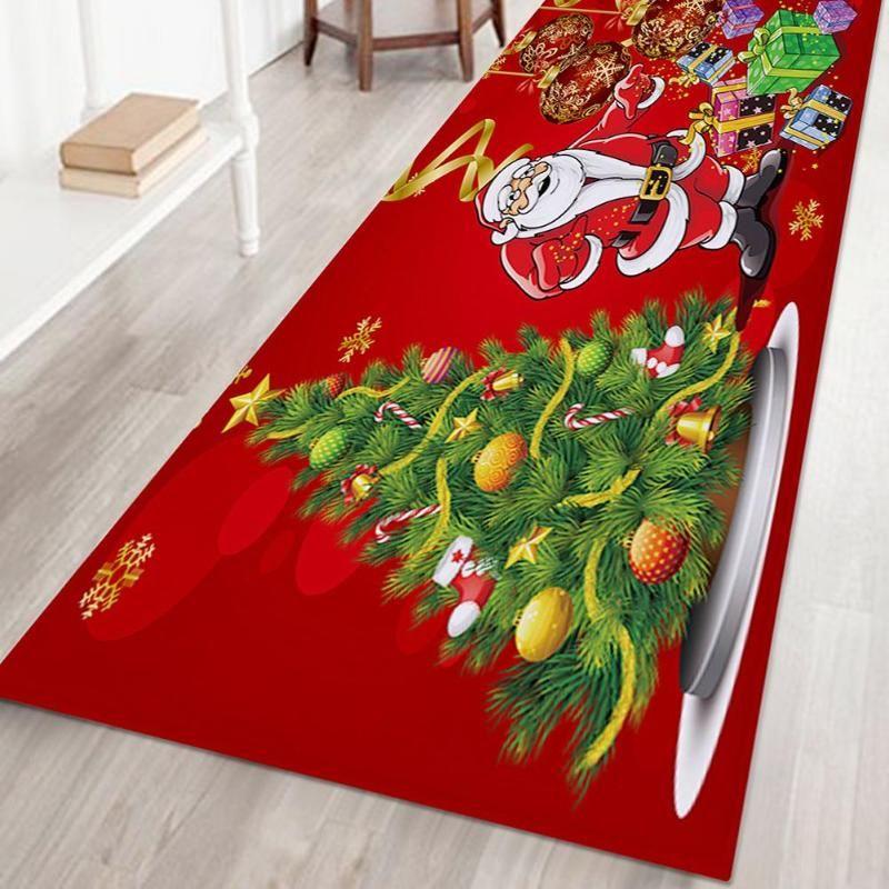 Delicate Doormat Carpet Merry Christmas Santa Claus Print Non-slip for Living Room Kitchen Area Rug Home Ornament Blanket