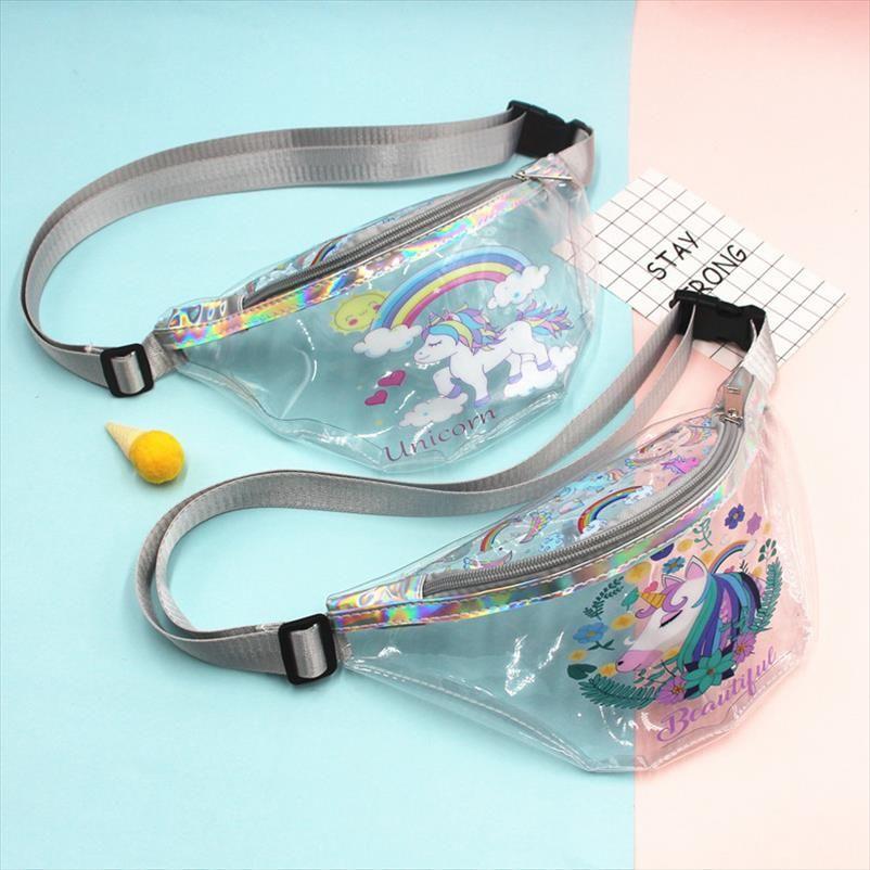 PINK Transparent Waist Bag Children PVC Holographic Flamingos Fanny Packs Young Girls Waterproof Chest Bag Kids Cute Hip Bum Bag