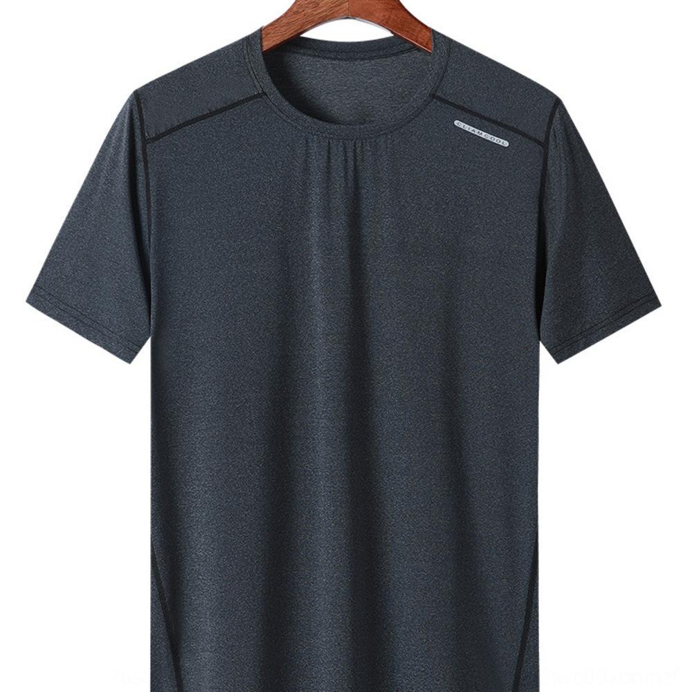T-shirt ozk31 e T-shirt pescoço esportes ao ar livre de manga curta rodada esportes ao ar livre das mulheres respirável de secagem rápida roupas de fitness homens casuais'