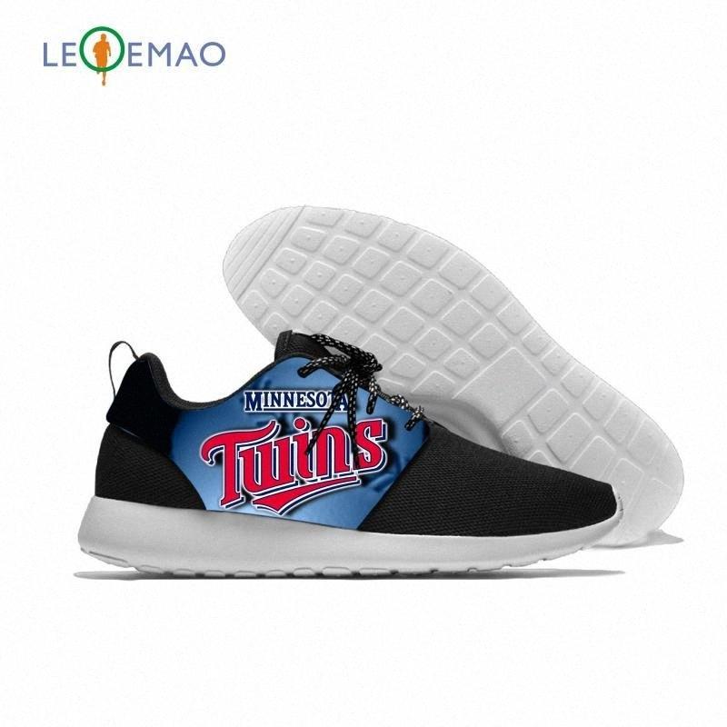 Respirável Lazer Esporte Twins Sneakers Equipe leve Casual Homens / Mulheres Correndo Minnesota Baseball malha Shoes hVEK #