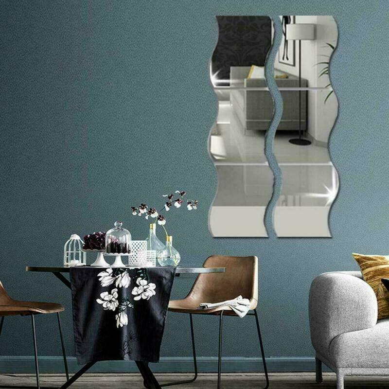 6pcs del espejo del pequeño Azulejos ondulados mosaico pegatinas de pared autoadhesivo Stick del arte de la etiqueta