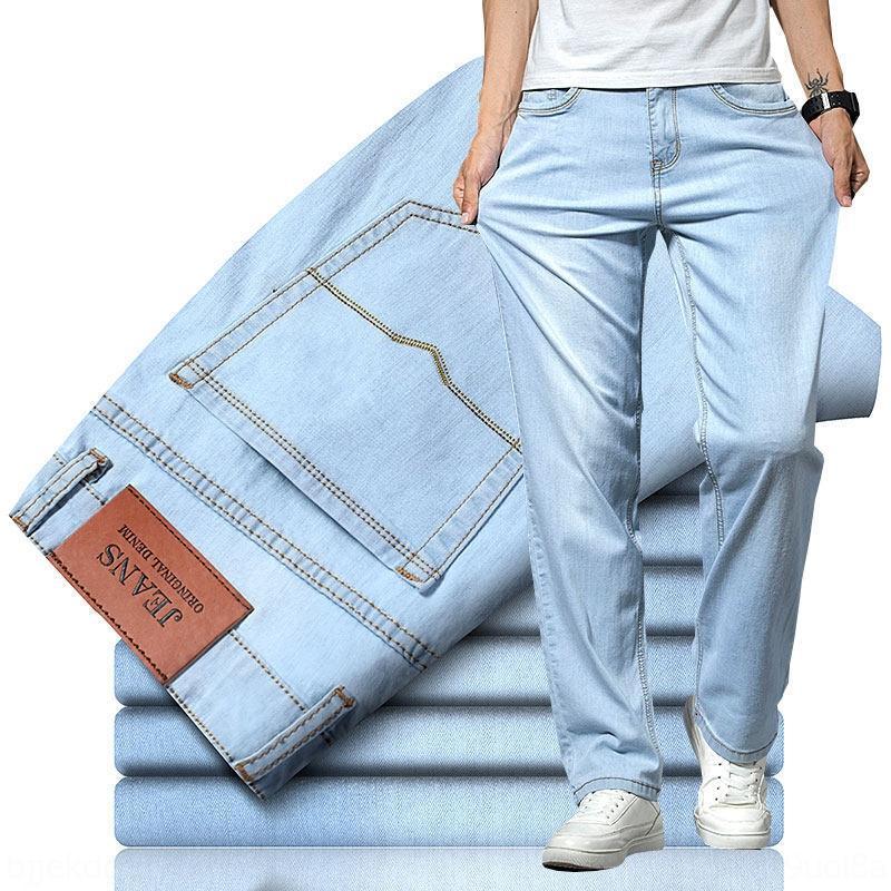 ultra-delgado de gran tamaño sueltos recta de color azul claro de NxONY 87KV6 de verano los hombres de color claro y blanco de la pierna ancha ocasional larga azul pantalones vaqueros y j