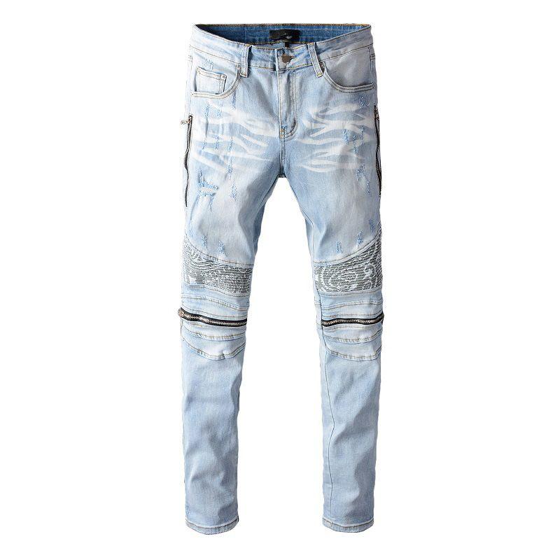 Lo nuevo para hombre rasgado Diseñador Jeans gastados remiendo de la manera adelgazan Washed Denim Moto Pantalones con paneles de Hip Hop del motorista Pantalones PN641