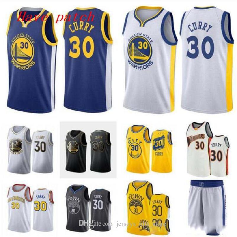 Uomini e donne di basket d'oroStatoWarriors30 StephenCurry bianco nero giallo gregario maniche Jersey e pantaloni 07