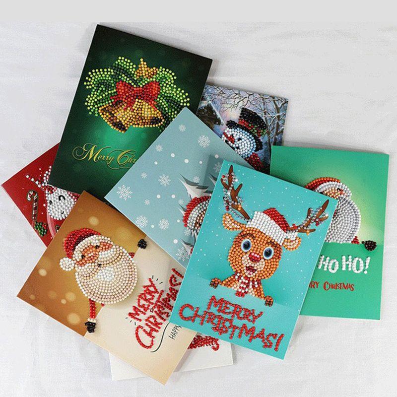 تدريبات الماس اللوحة بطاقات معايدة 5D الخاصة كارتون عيد الميلاد عيد الميلاد بطاقات بريدية DIY مهرجان الأطفال التطريز سلموا بطاقات الهدايا VT1709
