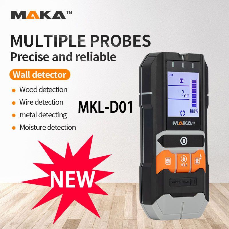 MAKA 4-IN-1 Цифровой Металлоискатель Электропроводка Стена Древесина Влагомер Wall Сканеры