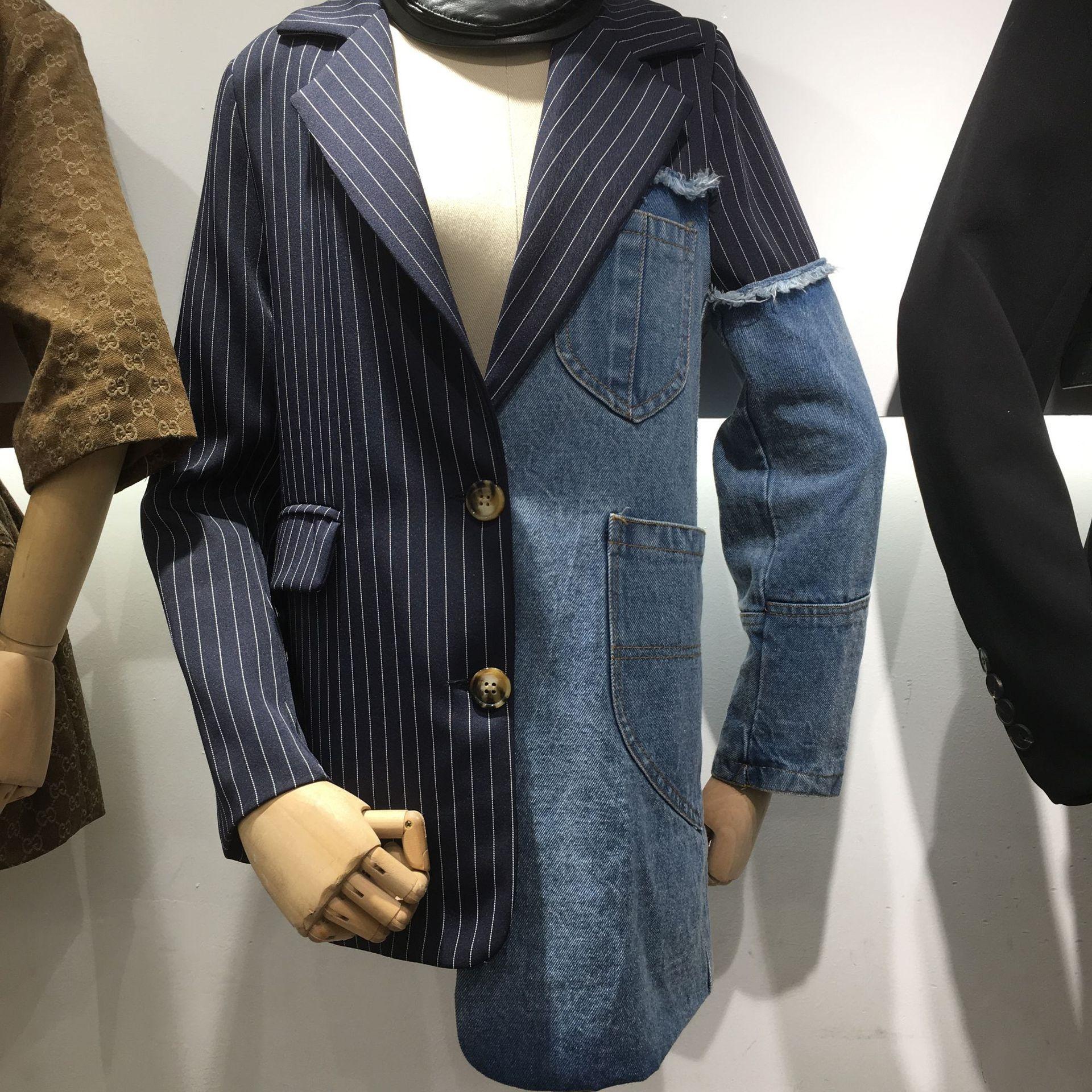 Piccolo vestito 2019 della molla nuovo stile coreano bavero cuciture vestito del denim irregolare di 0N3QO Donne per le donne giacca giacca