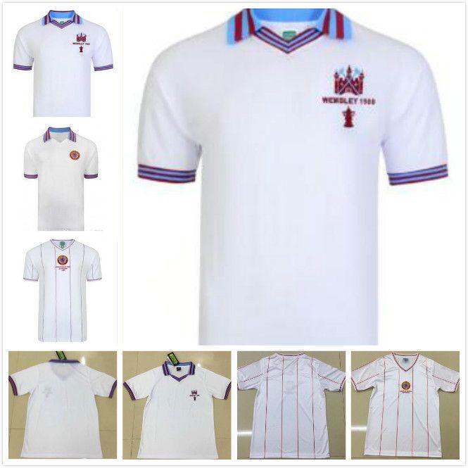 1982 Version Retro Aston Villa Soccer Jerseys 1980 Aston Villa Blanche à manches courtes QUALITY Maillot de football uniforme