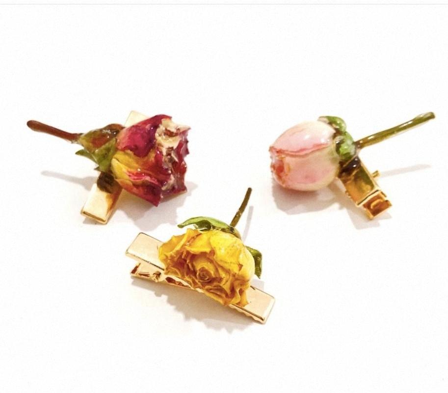 Metal gelgeller Doğa Kurutulmuş Çiçek Şapkalar Takı Gerçek Kuru Gül Saç Klipler Şapkalar Kadınlar Saç Şekillendirme JAwl #