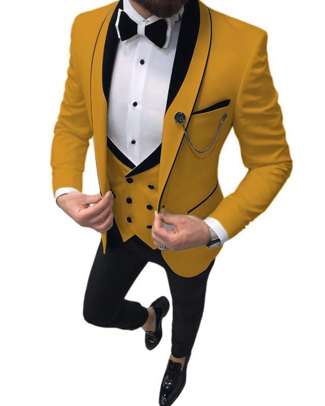 Il vestito degli uomini di colore giallo Slim Fit 3 pezzi Prom smoking scialle risvolto Doppio Petto Vest smoking Blazer festa di nozze (Jacket + Vest + Pants